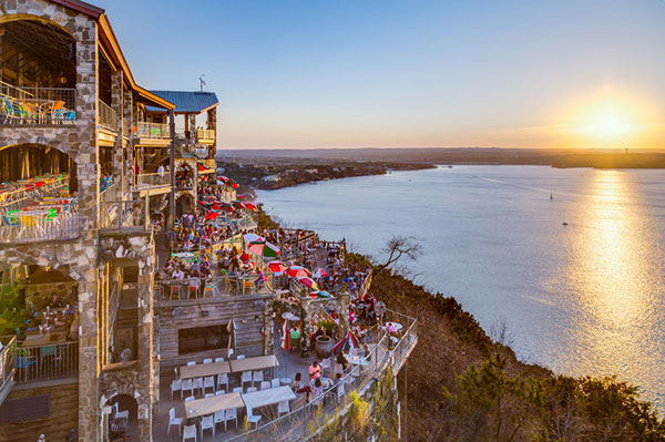 view of lake travis at sunset in Austin, Texas