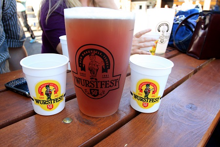 cups and pitcher of beer at the Wurstfest Festival in New Braunfels