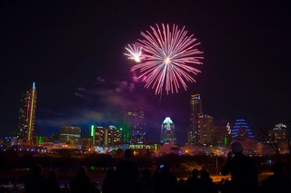 New Year fireworks about the Austin, Texas, city skyline.
