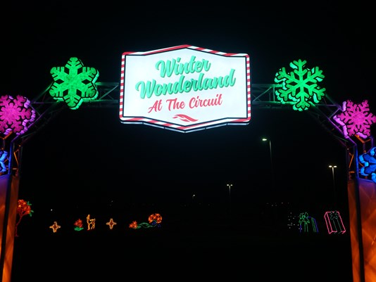 Winter Wonderland event sign at the Circuit of the Americas in Austin, Texas.