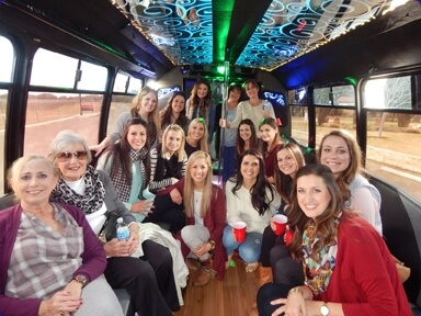 Ladies inside the party bus