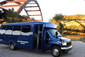 Blue Party Bus photographed at the 360 bridge.